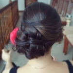 Elegant updo, wedding, bridesmaid, dark hair