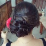 Elegant updo, wedding, bridesmaid, dark hair
